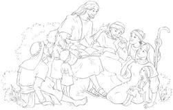 Ιησούς που κηρύσσει σε μια χρωματίζοντας σελίδα ομάδων ανθρώπων ελεύθερη απεικόνιση δικαιώματος