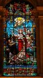 Ιησούς που πετά μακριά Lucifer στην έρημο - λεκιασμένο γυαλί Στοκ Εικόνα