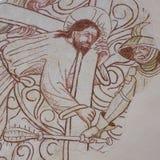 Ιησούς που φέρνει το σταυρό σε Golgata Στοκ Εικόνα