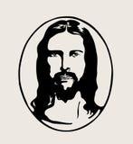 Ιησούς Face Silhouette Logo, διανυσματικό σχέδιο τέχνης απεικόνιση αποθεμάτων