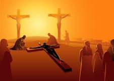 Ιησούς Is Nailed στο σταυρό διανυσματική απεικόνιση