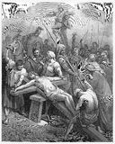 Ιησούς Is Nailed στο σταυρό απεικόνιση αποθεμάτων