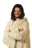 Ιησούς Smiling τα όπλα που διασχίζονται με Στοκ Φωτογραφία
