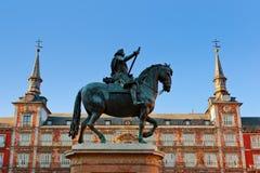 ΙΙΙ Μαδρίτη άγαλμα plaza δημάρχου Philip Στοκ Φωτογραφία