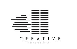 ΙΙ Ι Ι ζέβες σχέδιο λογότυπων επιστολών με τα γραπτά λωρίδες Στοκ Εικόνες