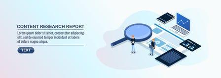 Ικανοποιημένη έρευνα και υποβολή έκθεσης, εμπορικοί εμπειρογνώμονες που αναλύουν την ικανοποιημένη απόδοση, εμπορικός την έννοια  ελεύθερη απεικόνιση δικαιώματος