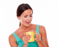 Ικανοποιημένη γυναίκα brunette με την κούπα καφέ στοκ εικόνα με δικαίωμα ελεύθερης χρήσης