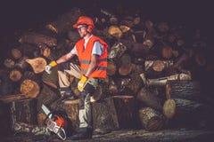 Ικανοποιημένος εργαζόμενος ξυλείας Στοκ Εικόνες