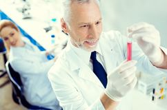 Ικανοποιημένος ερευνητής που χαμογελά εξετάζοντας το σωλήνα δοκιμής με το υγρό Στοκ φωτογραφία με δικαίωμα ελεύθερης χρήσης