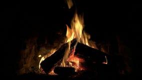 Ικανοποιώντας το θαυμάσιο ήρεμο καλό άνετο στενό επάνω βρόχο που πυροβολείται του ξύλινου καψίματος φλογών πυρκαγιάς αργά στην ατ φιλμ μικρού μήκους