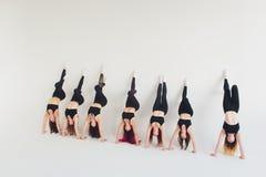 Ικανότητα, που τεντώνει workout, ελκυστική ώριμη γυναίκα ιώδες sportswear που ε στοκ φωτογραφία με δικαίωμα ελεύθερης χρήσης