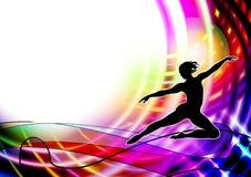 Ικανότητα χορευτών μπαλέτου, αερόμπικ γυμναστική ρυθμική επίσης corel σύρετε το διάνυσμα απεικόνισης ελεύθερη απεικόνιση δικαιώματος