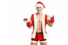 Ικανότητα Santa που δείχνει ένα κόκκινο κιβώτιο Στοκ φωτογραφία με δικαίωμα ελεύθερης χρήσης