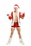 Ικανότητα Santa που δείχνει ένα κόκκινο κιβώτιο Στοκ φωτογραφίες με δικαίωμα ελεύθερης χρήσης