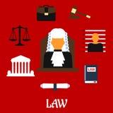 Δικαστής με τα επίπεδα εικονίδια δικαστηρίων Στοκ Εικόνες