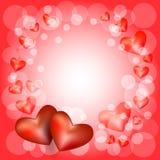 δικτυωτό πλαίσιο με δύο καρδιές Στοκ Εικόνα