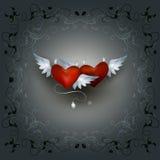 δικτυωτό πλαίσιο με δύο καρδιές Στοκ φωτογραφία με δικαίωμα ελεύθερης χρήσης