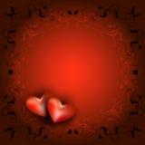 δικτυωτό πλαίσιο με δύο καρδιές Στοκ Φωτογραφία