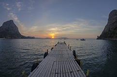 λιμάνι αυγής βαρκών μικρό Στοκ Εικόνες
