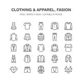 Ιματισμός, επίπεδα εικονίδια γραμμών fasion Άνδρες, ενδυμασία γυναικών - ντύστε, κάτω από το σακάκι, τα τζιν, εσώρουχο, μπλούζα Λ ελεύθερη απεικόνιση δικαιώματος