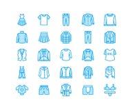 Ιματισμός, επίπεδα εικονίδια γραμμών fasion Άνδρες, ενδυμασία γυναικών - ντύστε, κάτω από το σακάκι, τα τζιν, εσώρουχο, μπλούζα Λ διανυσματική απεικόνιση
