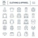 Ιματισμός, επίπεδα εικονίδια γραμμών fasion Ανδρών, ενδυμασία των γυναικών - ντύστε, ταιριάξτε το σακάκι, τζιν, εσώρουχο, μπλούζα διανυσματική απεικόνιση