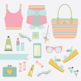 Ιματισμός μόδας γυναικείου καλοκαιριού ροζ και κιρκιριών και βοηθητικό σύνολο διανυσματική απεικόνιση