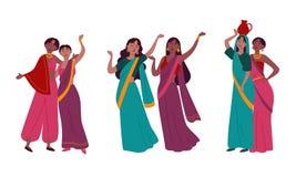 Ινδικές γυναίκες στα παραδοσιακά εθνικά ενδύματα της Sari απεικόνιση αποθεμάτων