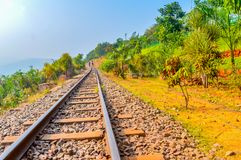 Ινδική αυγή πρωινό Vizag Ινδία σούρουπου διαδρομής σιδηροδρόμων βουνών Στοκ εικόνες με δικαίωμα ελεύθερης χρήσης