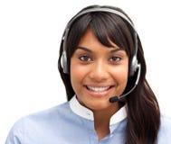 Ινδική επιχειρηματίας με το ακουστικό Στοκ Εικόνα