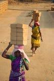 ινδική εργασία πεδίων τούβλου Στοκ εικόνα με δικαίωμα ελεύθερης χρήσης