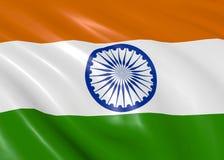 Ινδική σημαία που κυματίζει στον αέρα Στοκ Εικόνες