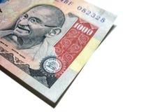 ινδική σημείωση ένα ρουπία χίλια Στοκ Φωτογραφία