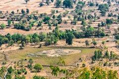 Ινδική τοπ arial άποψη αγροτικών τομέων και δέντρων από τους λόφους/βουνό ενός αγροτικού χωριού της Ινδίας Στοκ Εικόνες