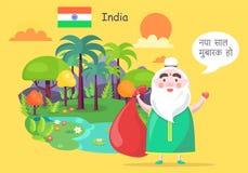 Ινδικός Άγιος Βασίλης χαιρετά με καλή χρονιά Στοκ Εικόνες