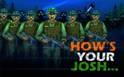 Ινδικός ήρωας έθνους στρατού soilder στην υπερηφάνεια του υποβάθρου της Ινδίας ελεύθερη απεικόνιση δικαιώματος