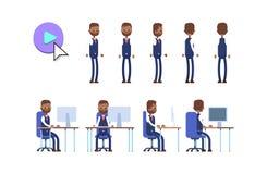 Ινδικός επιχειρηματίας ζωτικότητα Κ χαρακτήρα κινουμένων σχεδίων διανυσματική απεικόνιση