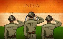 Ινδικός στρατός soilder που χαιρετίζει falg της Ινδίας με την υπερηφάνεια απεικόνιση αποθεμάτων