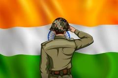 Ινδικός στρατός soilder που χαιρετίζει falg της Ινδίας με την υπερηφάνεια ελεύθερη απεικόνιση δικαιώματος