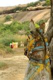 Ινδικός του χωριού Θεός των αγαλμάτων αλόγων σε έναν του χωριού ναό σύνθετο Στοκ Φωτογραφία