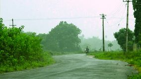 Ινδικό αγροτικό οδικό ποδήλατο που περνά, υδρονέφωση στο υπόβαθρο φύσης φιλμ μικρού μήκους