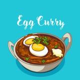 Ινδικό παραδοσιακό κάρρυ αυγών κουζίνας απεικόνιση αποθεμάτων