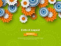 Ινδικό σχέδιο διακοπών ημέρας της ανεξαρτησίας τρισδιάστατες ρόδες με τα λουλούδια στο παραδοσιακό tricolor της ινδικής σημαίας τ Στοκ φωτογραφία με δικαίωμα ελεύθερης χρήσης