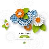 Ινδικό σχέδιο διακοπών ημέρας της ανεξαρτησίας τρισδιάστατες ρόδες, λουλούδια με τα φύλλα στο παραδοσιακό tricolor της ινδικής ση Στοκ φωτογραφία με δικαίωμα ελεύθερης χρήσης