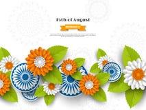 Ινδικό σχέδιο διακοπών ημέρας της ανεξαρτησίας τρισδιάστατες ρόδες, λουλούδια με τα φύλλα στο παραδοσιακό tricolor της ινδικής ση Στοκ Φωτογραφία
