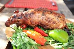 Ινδικό χοιρίδιο που ψήνεται - παραδοσιακό γεύμα στο Περού στοκ φωτογραφίες