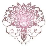 Ινδικό ύφος Διακόσμηση στο εθνικό ασιατικό λουλούδι λωτού ελεύθερη απεικόνιση δικαιώματος