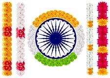 Ινδικό mala γιρλαντών λουλουδιών Σημαία της Ινδίας και chakra ashoka απεικόνιση αποθεμάτων