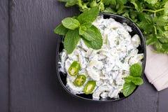 Ινδικό raita αγγουριών με το γιαούρτι, μέντα, cilantro Ελληνικό tzatzi Στοκ φωτογραφία με δικαίωμα ελεύθερης χρήσης