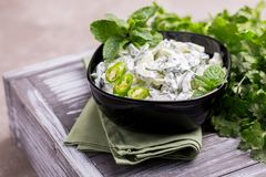 Ινδικό raita αγγουριών με το γιαούρτι, μέντα, cilantro Ελληνικό tzatzi Στοκ Φωτογραφίες